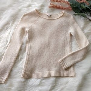 J CREW FACTORY Wool Blend Ivory Crewneck Sweater